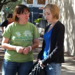 "Marian Yeager and Mikaela Krantz (Alice) review the next scene -- ""The Good Samaritan"""